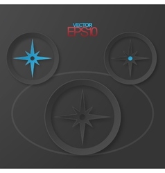 Modern flat design compass with drop shadows vector image vector image