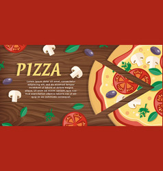 pizza with tomatoes olives mushrooms and herbs vector image