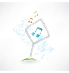 Plate music grunge icon vector