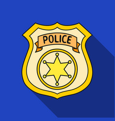 Police officer badge icon in flat style isolated vector