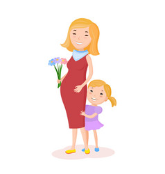 pregnancy woman and her child vector image