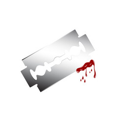 Razor with dripping blood vector