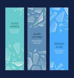 Realistic shards of broken glass banner vecrtical vector