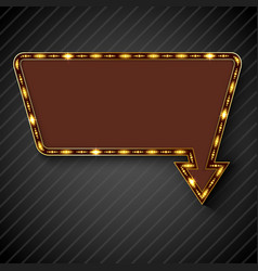 retro arrow with space for text black background vector image vector image