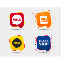 Sale speech bubble icon thank you symbol vector