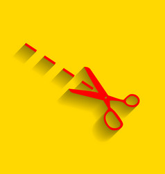 Scissors sign red icon with vector