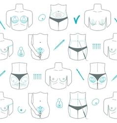 Seamless pattern of body plastic surgery Flat vector image