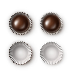 Set of black bitter chocolate candies with paper vector