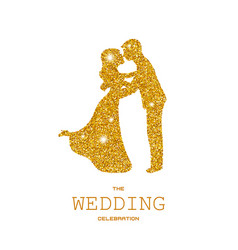 Silhouette of wedding couple with gold glitters vector
