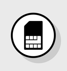 Sim card sign flat black icon in white vector