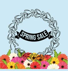 Spring sale flowers crown leaves festive vector