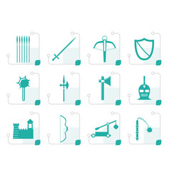 stylized medieval arms and objects icons vector image