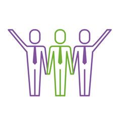 three men holding hands teamwork successful vector image vector image