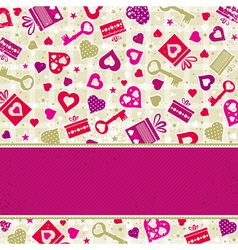 valentine background with pink hearts and gifts vector image vector image