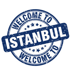 Welcome to istanbul blue round vintage stamp vector