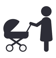 Woman with baby stroller icon vector