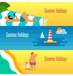 Summer holidays banner with man sunbathes vector