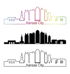 Kansas City V2 skyline linear style with rainbow vector image