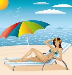 Sexy woman in bikini on the beach vector