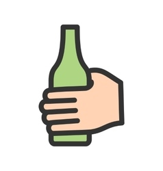 Holding bottle vector