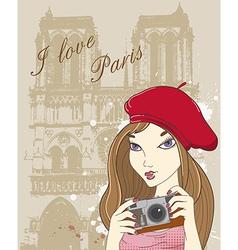 paris girl vector image
