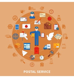 Postal communication round design vector
