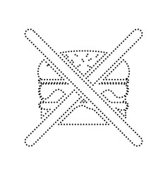 No burger sign  black dotted icon on white vector