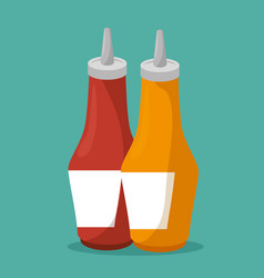 Sauces bottles isolated icon vector