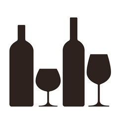 Bottles and glasses of alcohol vector