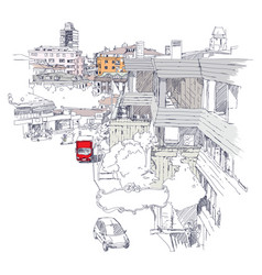 urban sketch of mecidiyekoy district of istanbul vector image
