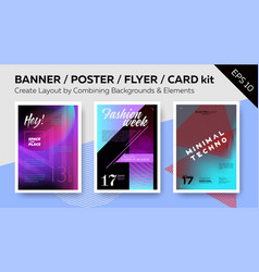 Banner dj poster night club flyer card kit vector