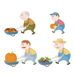 Farmers with vegetables and pumpkins vector