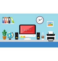 Office workstation design vector