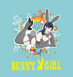 Sexy pin up bunny girl vector