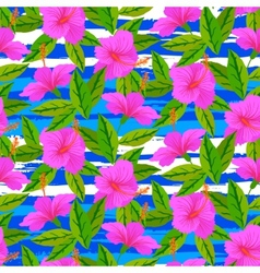 Tropical pattern with pink hibiscus flowers vector