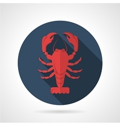 Red lobster flat round icon vector