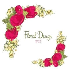 Floral frame made of peonies vector image