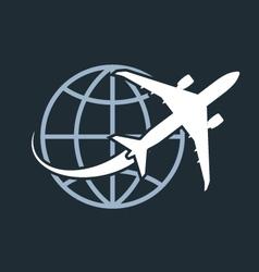 Travel around the world - airplane flying around vector image