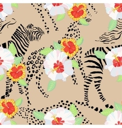 Seamless pattern with hibiscus vector