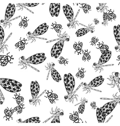 Seamless pattern with hand-drawn insects vector
