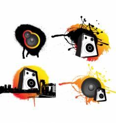 Grunge speaker set vector
