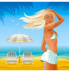Day beach background with beautiful tan girl and vector