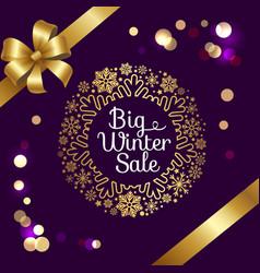 big winter sale with bokeh vector image