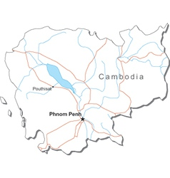 Cambodia Black White Map vector image vector image