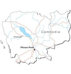 Cambodia Black White Map vector image vector image