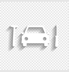 Car tire repair service sign white icon vector