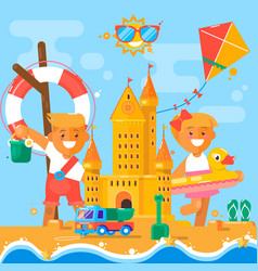 children s summer activities at the beach flat vector image vector image