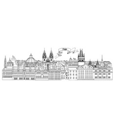 City view prague old town landmarks skyline vector