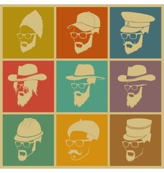 Colorful of icons of people in hats vector