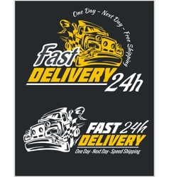 Delivery elements yellow and white signs labels vector